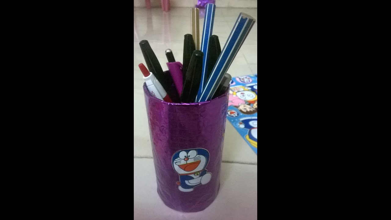 Simple and easy pen stand making from waste material youtube for Waste to wealth craft ideas