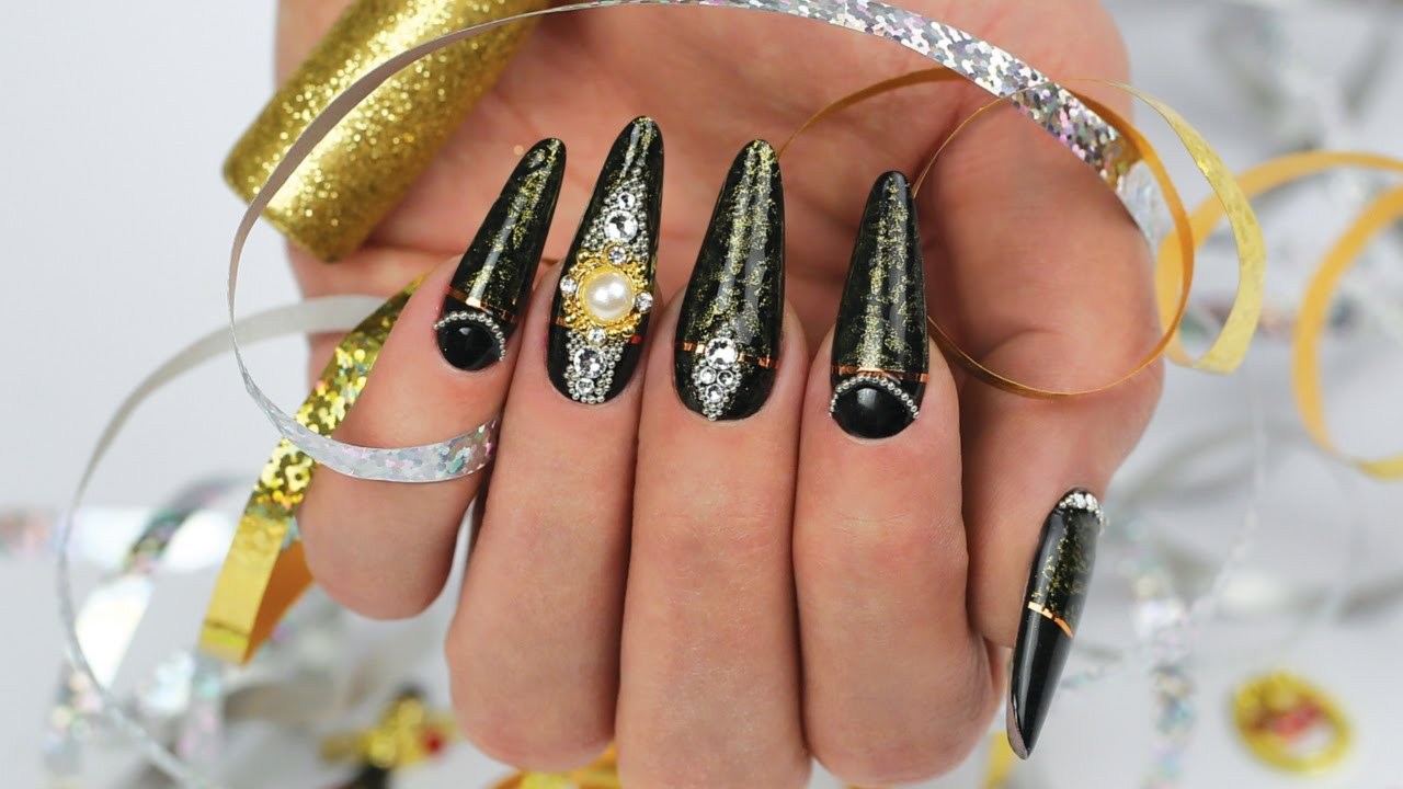 New Year's Eve Nail Art Design with Swarovski Crystals ...