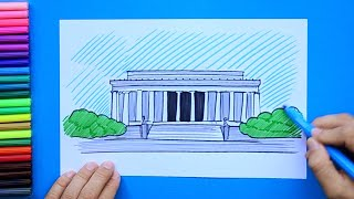 How to draw and color Lincoln Memorial