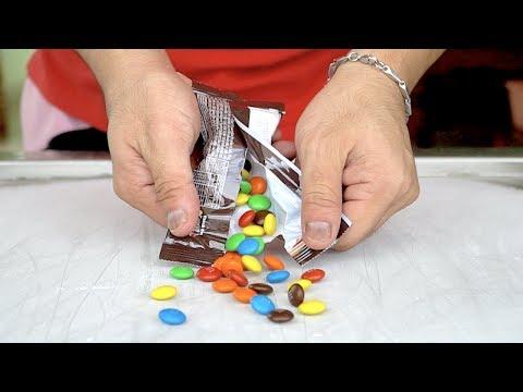 ICE CREAM ROLLS | M&M's Candy Milk chocolate and M&M's Peanut chocolate party Ice cream rolls