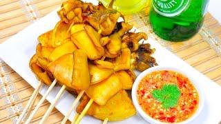 Thai Grilled Squid with Spicy Seafood Sauce - Pla Muek Yang ปลาหมึกย่าง [4K]