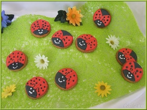 Tutoriel cake design d coration de biscuits coccinelles au gla age royal youtube - Decoration gateau glacage royal ...