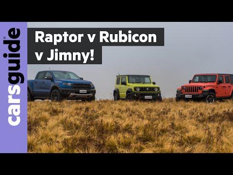 Ford Ranger Raptor vs Jeep Wrangler Rubicon vs Suzuki Jimny 2019 off-road review