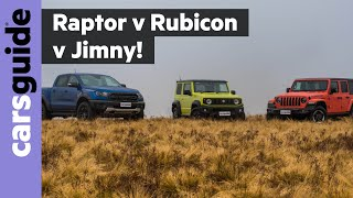 Ford Ranger Raptor vs Jeep Wrangler Rubicon vs Suzuki Jimny 2019 off-road review
