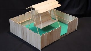 How to Make Popsicle Stick or IceCream Stick Miniature Swing or Jhula