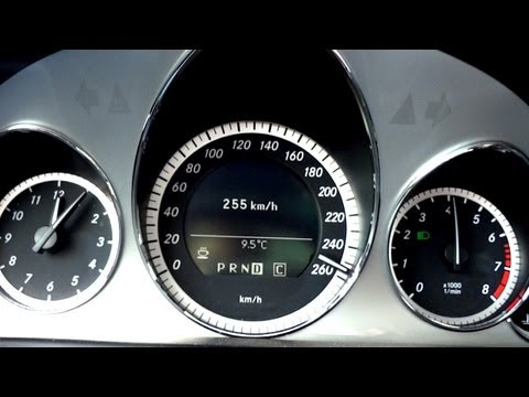 Mercedes E500 V8 Coupe 130-255 Km/h Kickdown Acceleration To V/Max On Highway Autobahn Sound