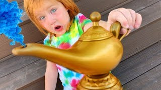 MAGIC LAMP with 3 WISHES!! Adley chooses what the Family does ALL DAY!