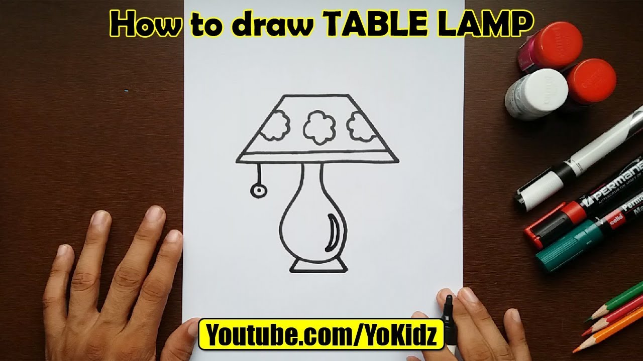 How To Draw Table Lamp For Kids Youtube
