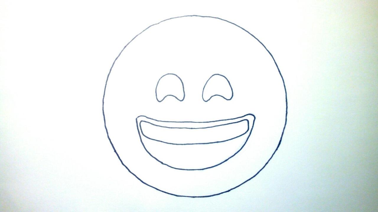 Emoticones Whatsapp Cómo Dibujar El Emoji Feliz A Lápiz Paso A Paso