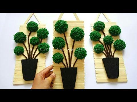 Diy popsicle stick crafts|| Diy felt topiary trees || Diy hiasan dinding stik eskrim dan kain flanel