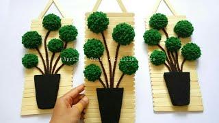 Diy popsicle stick crafts   Diy felt topiary trees    Diy hiasan dinding stik eskrim dan kain flanel