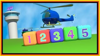 Cartoon Airport! Build 3d BABY Helicopter. Learn Numbers (1-5) Construction Cartoon 3