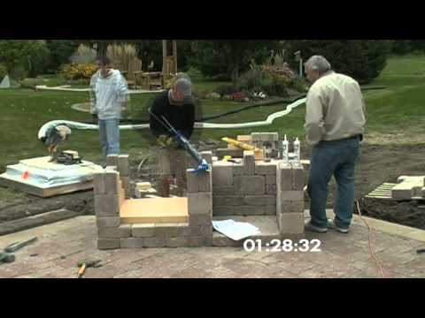 Outdoor Fireplace Construction (Time Lapse)