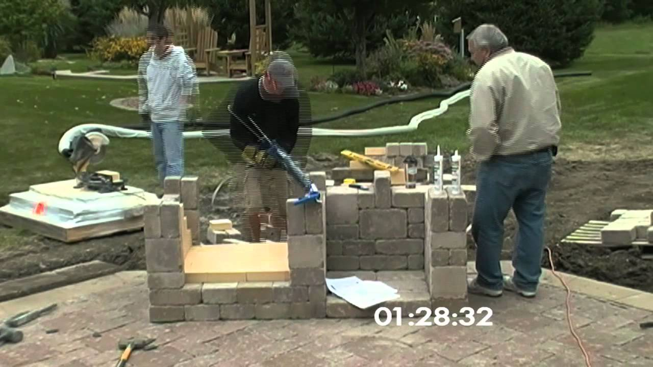 outdoor fireplace construction (time lapse) - youtube