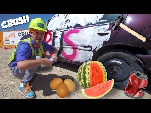 Crush a Car with a Blippi Excavator | Learn English Spelling for Toddlers