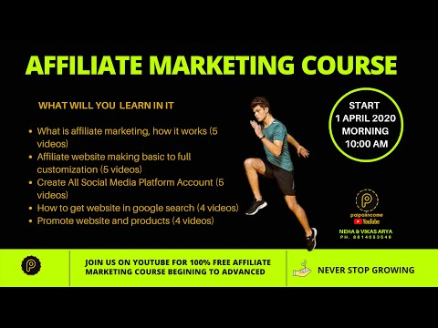 affiliate marketing course 100% free join us palpalincome youtube channel thumbnail