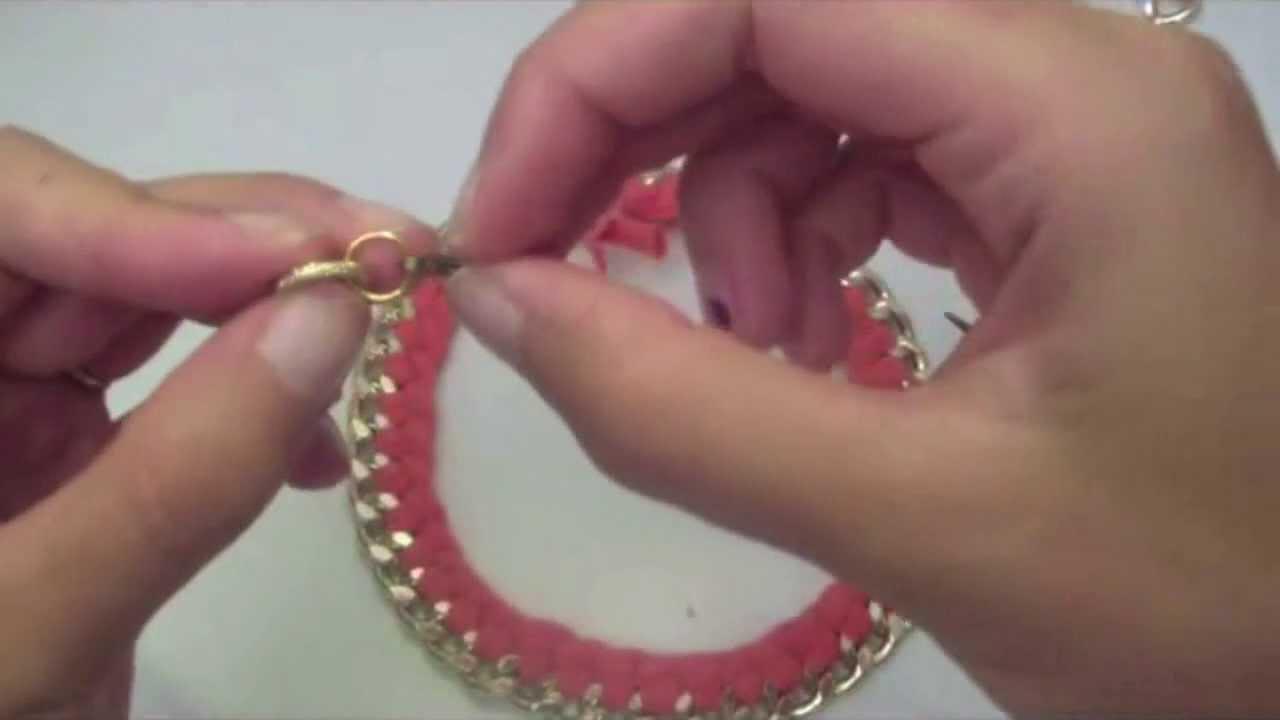 Preferenza Tutorial collana catena con fettuccia intrecciata - YouTube BX43
