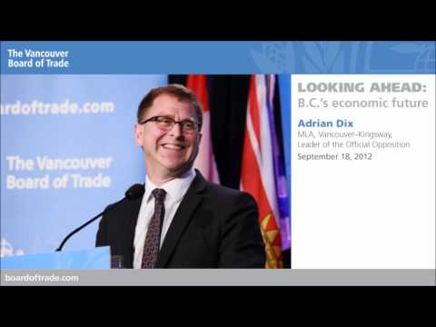 NDP leader Adrian Dix addresses The Vancouver Board of Trade, Sept. 18, 2012