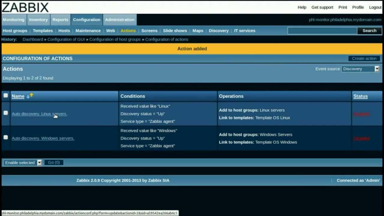 Zabbix Discovery Configuration