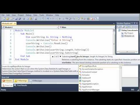 Visual Basic Tutorial - 20 - SubStrings