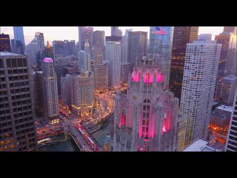 Tribune Tower | Wrigley Building | London Guarantee Building | Chicago |Drone Aerial | HD