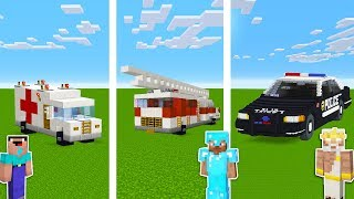 Minecraft Noob Vs Pro Vs God Fire Truck Police And Ambulance Cars In Minecraft  Funny Animation