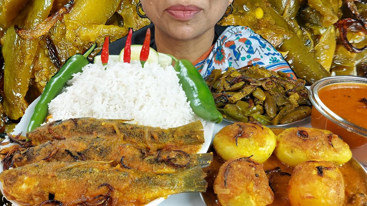 Asmr Spicy Egg Curry and Whole Fish Curry Eating with Rice Mukbang