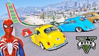 CARROS Fusca com Homem Aranha e Heróis na Rampa! Desafio Saltos Acrobáticos - GTA V Mods - IR GAMES