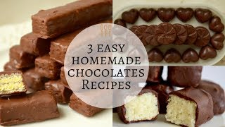 3 easy chocolate recipes |  Milk chocolate | Kit Kat chocolate | bounty bars | 3 Types of Chocolate
