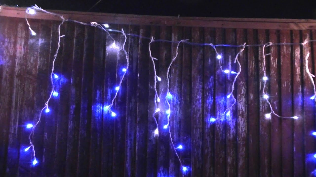 Premier Blue Amp White Led Snowing Icicle Lights Youtube