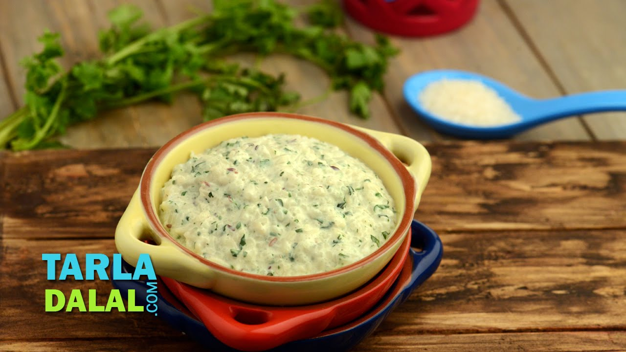 Coriander Curd Rice 8 To 9 Month Old Babies By Tarla Dalal