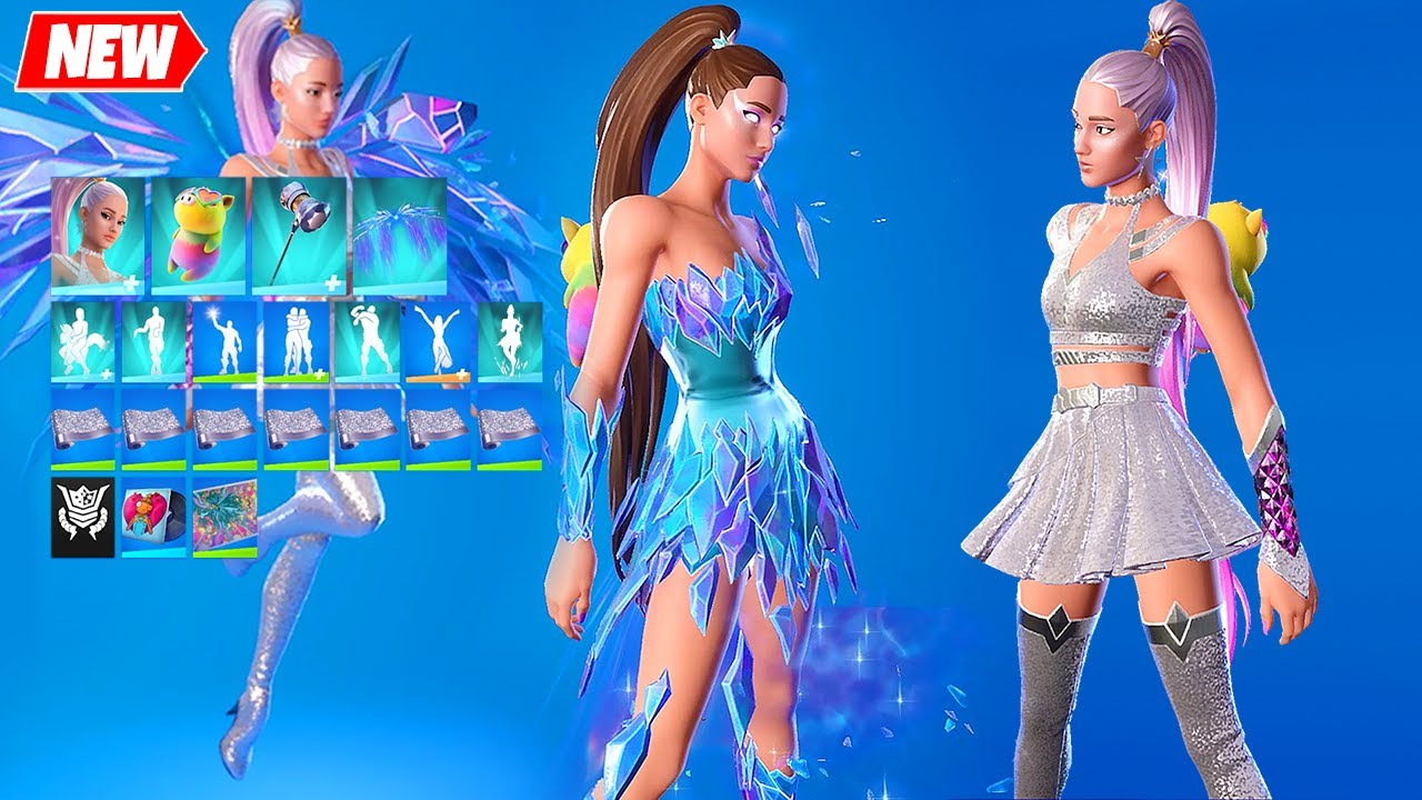 Ariana Grande Fortnite - full Set showcase: All Styles Outfit, Back Bling, Pickaxe, Glider and Wrap