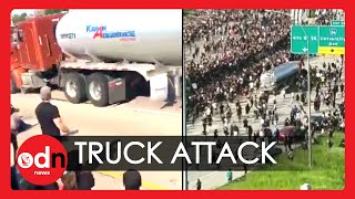 Shocking Moment Truck Drives Into Minneapolis Protesters on Closed Interstate