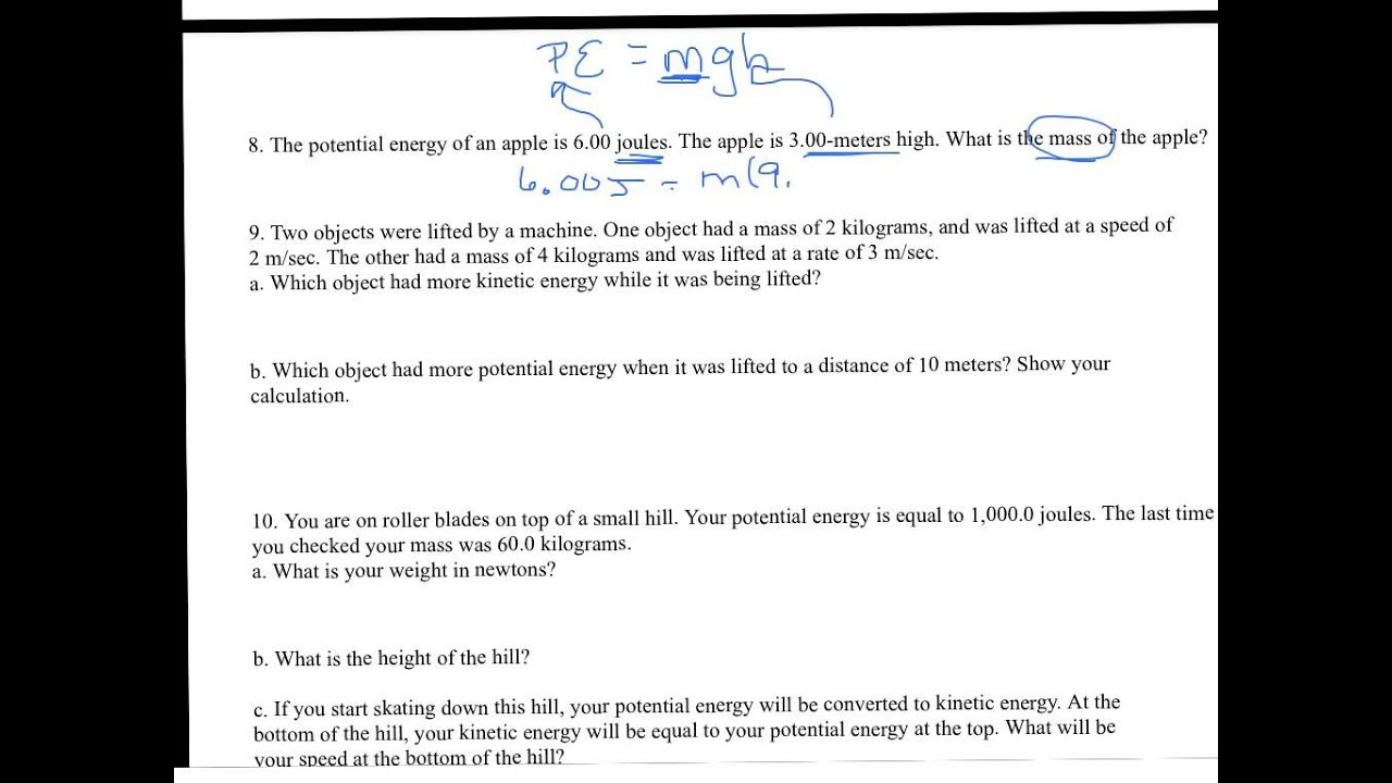 Kinetic and potential energy worksheet - YouTube