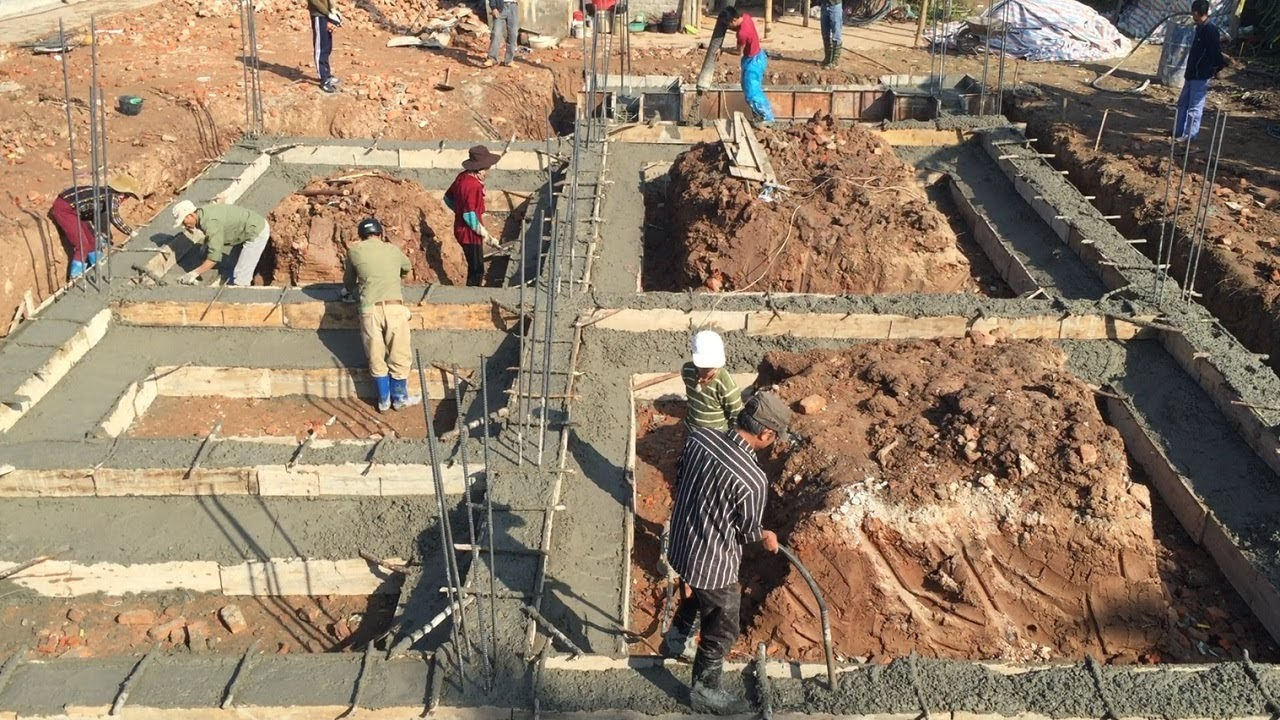 Traditional Beam Foundation Building Using Ready Mixed Concrete