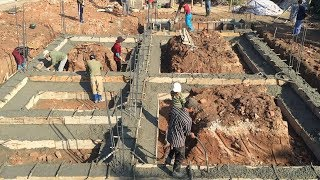Traditional Beam Foundation Building Using Ready Mixed Concrete - House Construction(Part2)