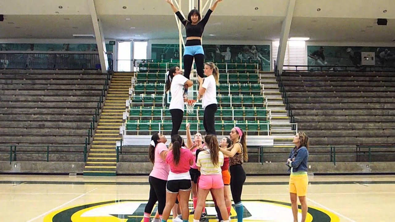 PLNU Cheer- three high pyramid