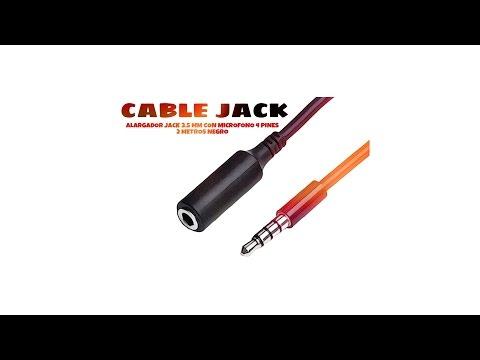 Video de Cable alargador Jack 3.5 mm con microfono  4 pines 2 M Negro