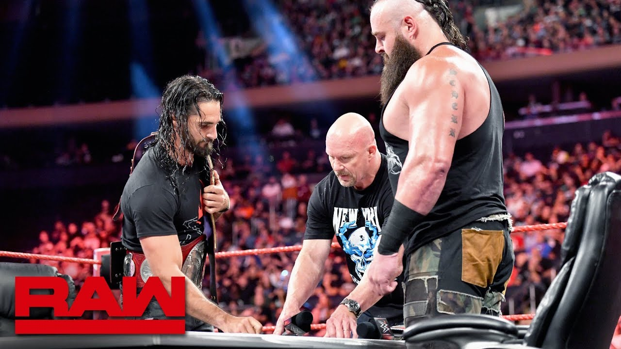 """Download """"Stone Cold"""" Steve Austin moderates Universal Title Match contract signing: Raw, Sept. 9, 2019"""