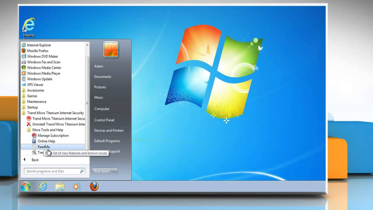 How to uninstall Trend Micro® Internet Security from Windows® 7