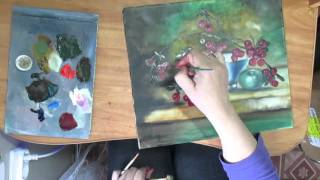 Натюрморт Вишни Живопись маслом.Видео урок.