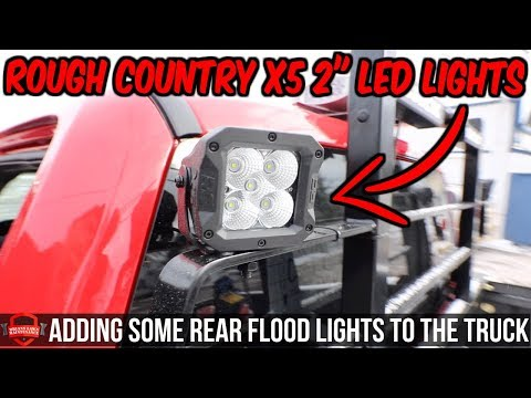"""Rough Country X5 Series 2"""" Square Cree LED Lights   Additional Lighting For Mirrors + Backup Camera!"""