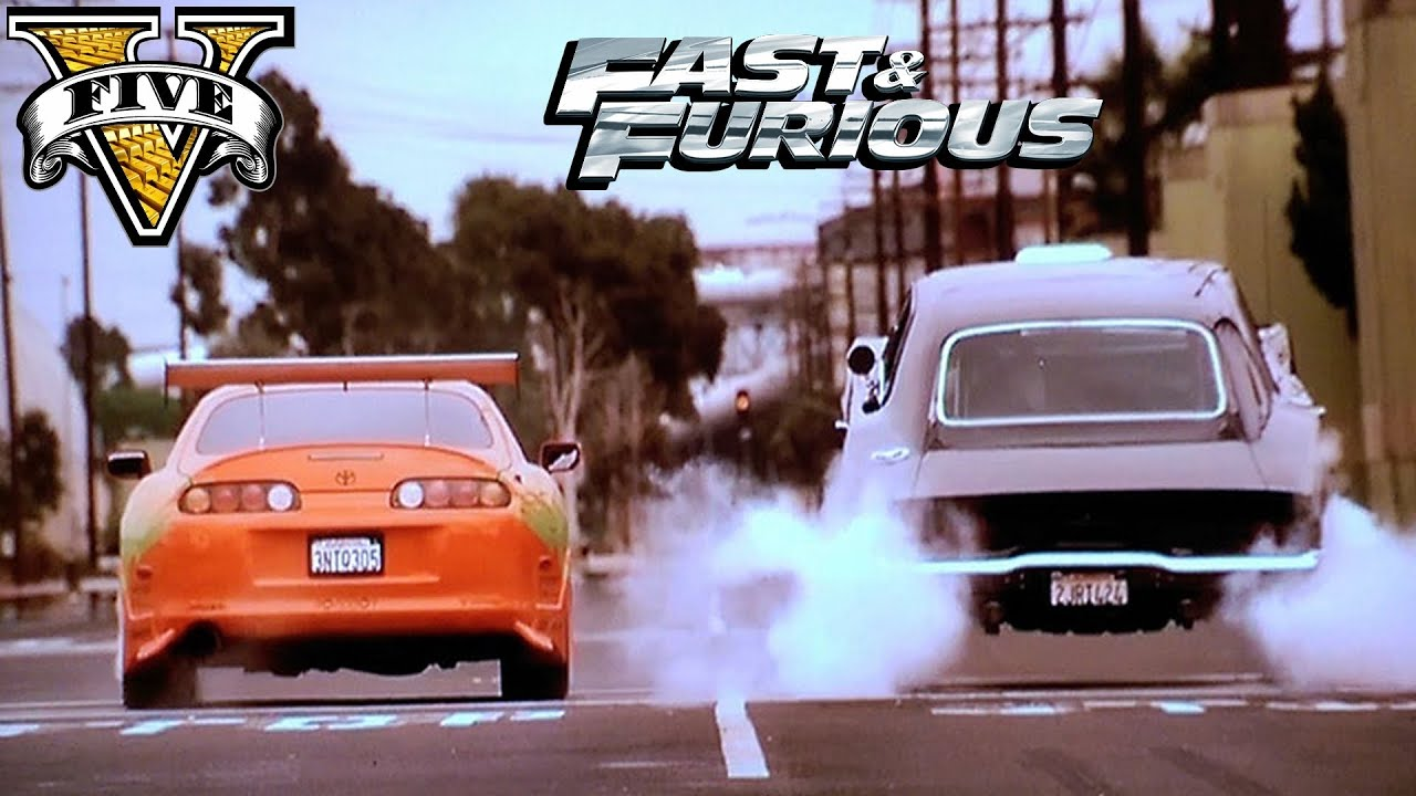 GTA 5 Fast and Furious 1 Dom Dodge Charger vs Paul Walker Toyota Supra Movie Scene GTA 5 ...