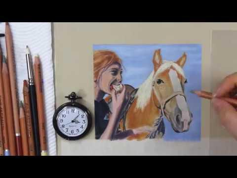 time lapse using panpastels and cretacolor pastel pencils on ingres