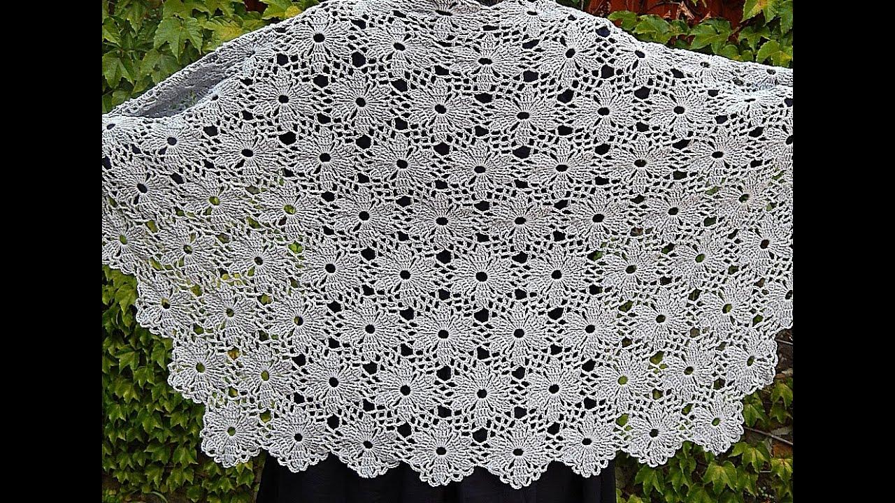 rochet Flower Motif. Crochet Shawl. Tutorial. Part 2 ...