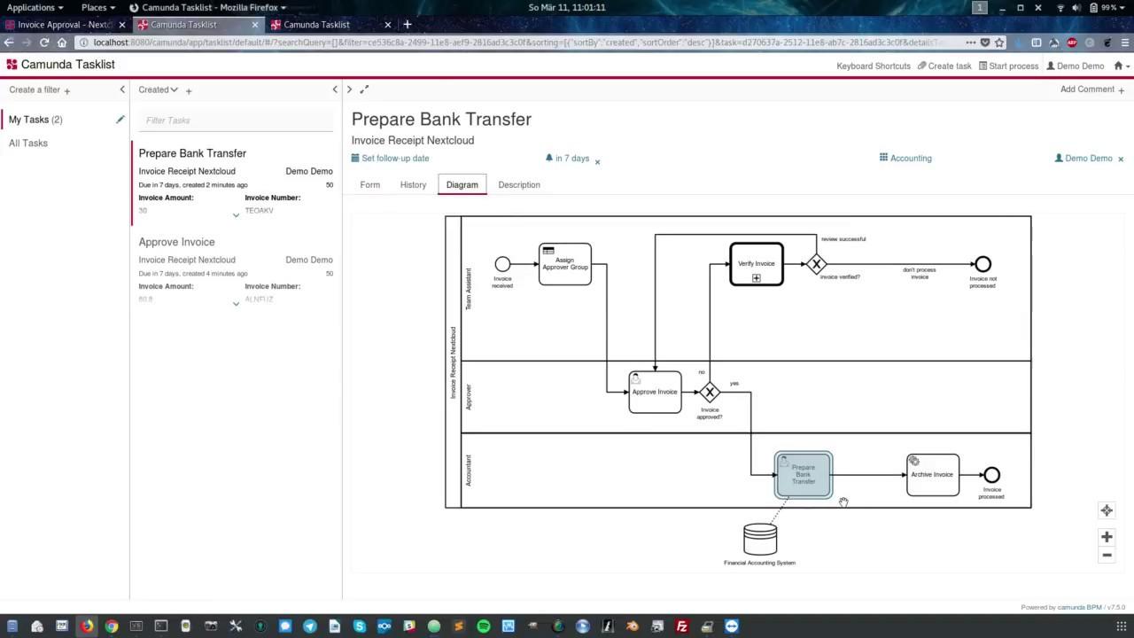 Nextcloud Integration with Camunda Workflow Engine