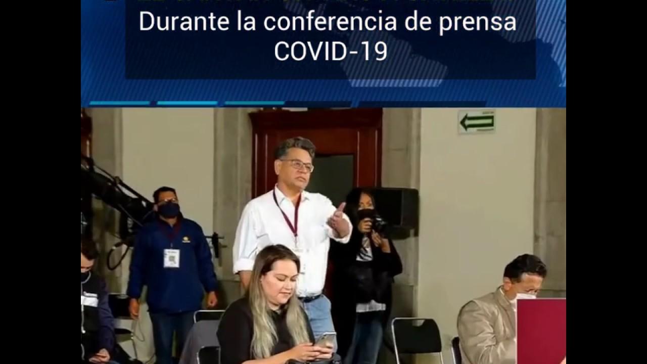 Le cantan un Tiro a Gatell durante la Conferencia de prensa.