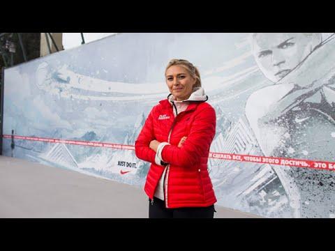 Custom wall stencils Maria Sharapova mural for Sochi 2014