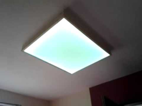 RGB LED Strip Selbstgebaute Deckenlampe Holz - YouTube