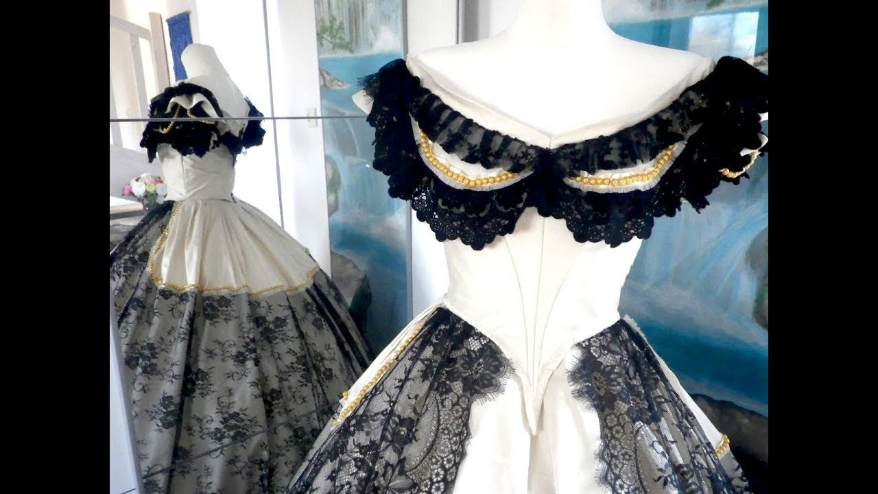 Victorian BALL Gown Project & Sewing of beige-noir dress - YouTube